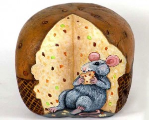 Menakjubkan-Lukisan-Roti-dan-Tikus-di-Batu-Sangat-Lucu